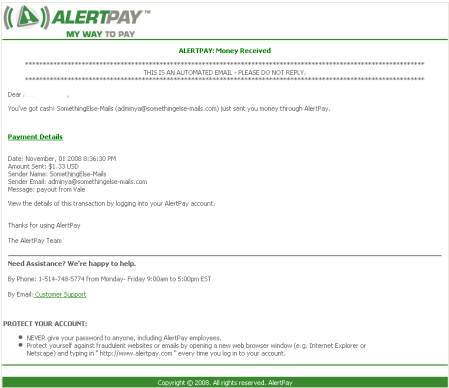 Mail sent by Alertpay